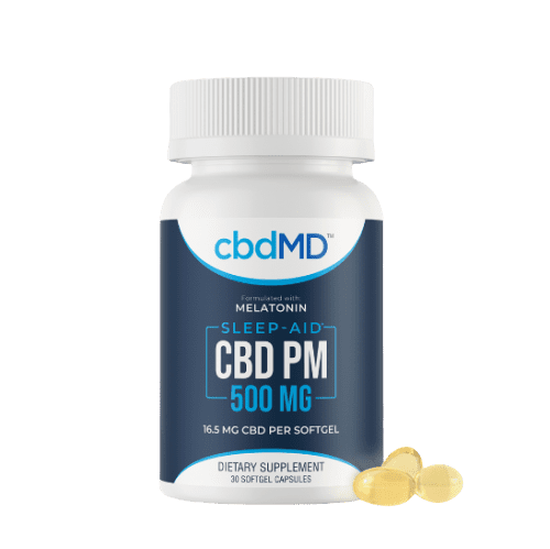 Bottle of CBD PM sleep aid, a natural solution for pain relief is CBD capsules Northwest Indiana.